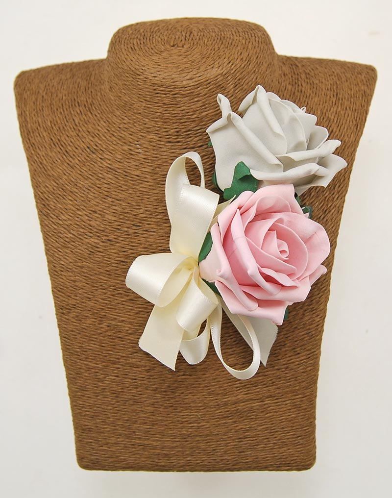 Grooms Double Dusky Pink & Light Grey Artificial Rose Wedding Buttonhole