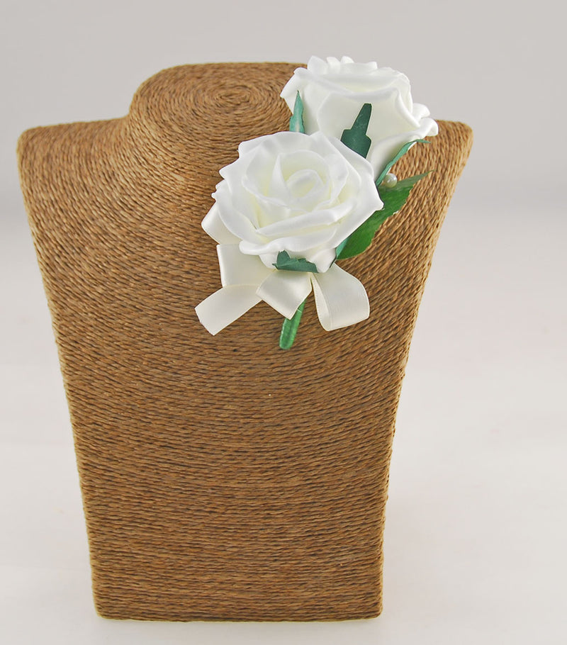 Grooms Double Ivory Foam Rose Wedding Buttonhole
