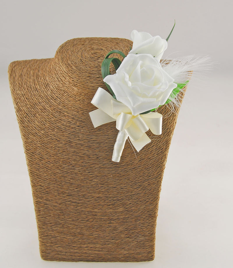 Grooms Double Ivory Foam Rose & Feather Wedding Buttonhole