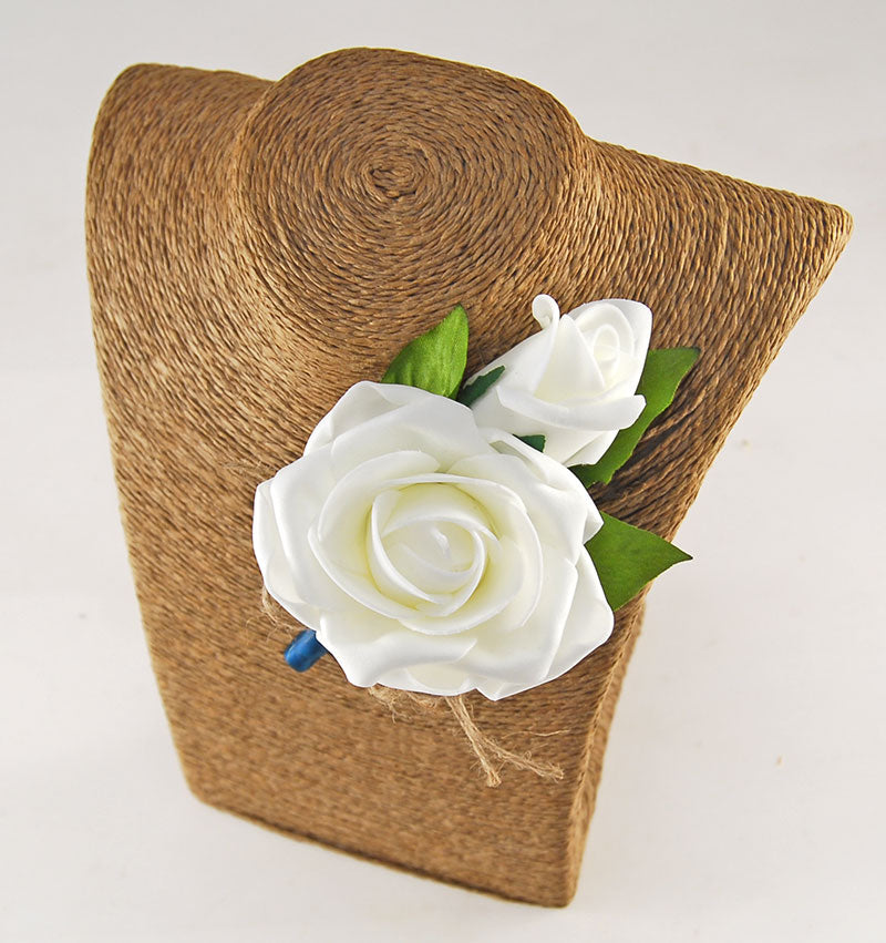 Grooms Double Ivory Foam Rose & Twine Bow Wedding Buttonhole