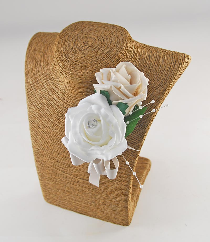 Grooms Double Mocha & White Rose Pearl Spray Wedding Buttonhole