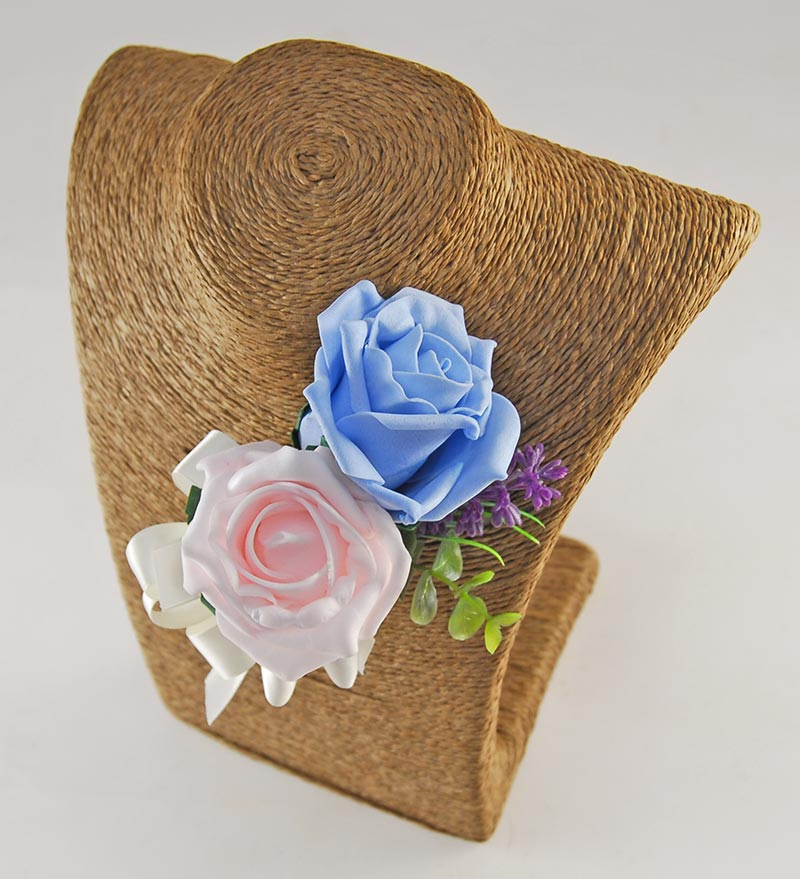 Grooms Double Pale Blue, Pink Rose Buttonhole with Lavender, Eucalyptus & Butterfly