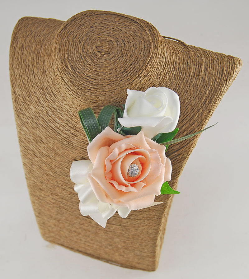 Grooms Double Peach & Ivory Rose & Diamante Ball Wedding Buttonhole