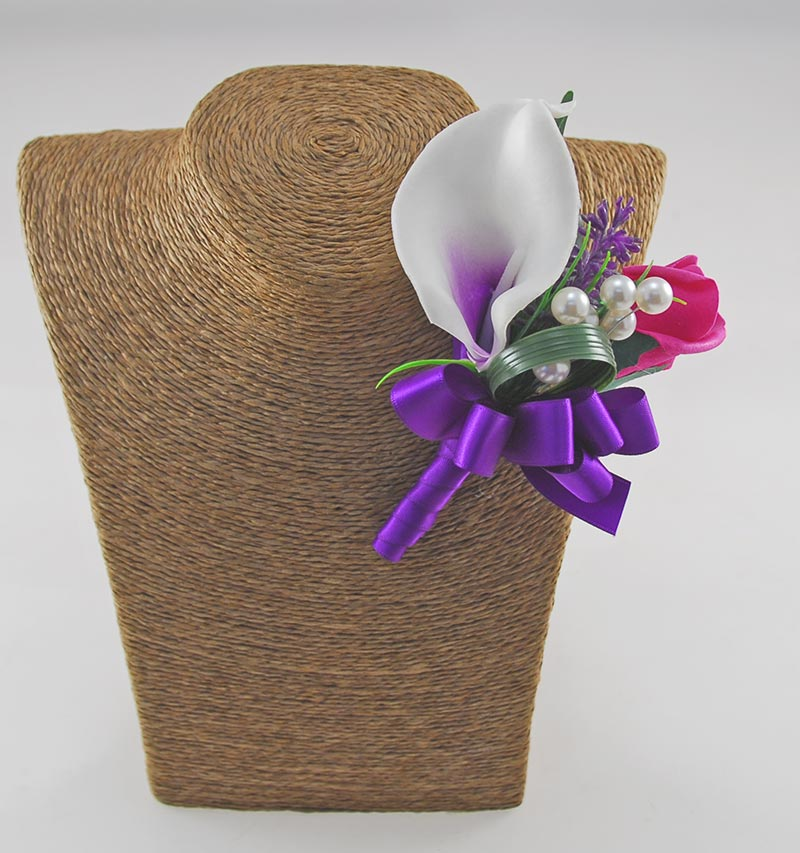Grooms Double Purple Calla Lily & Cerise Rose Buttonhole with Pearls & Lavender