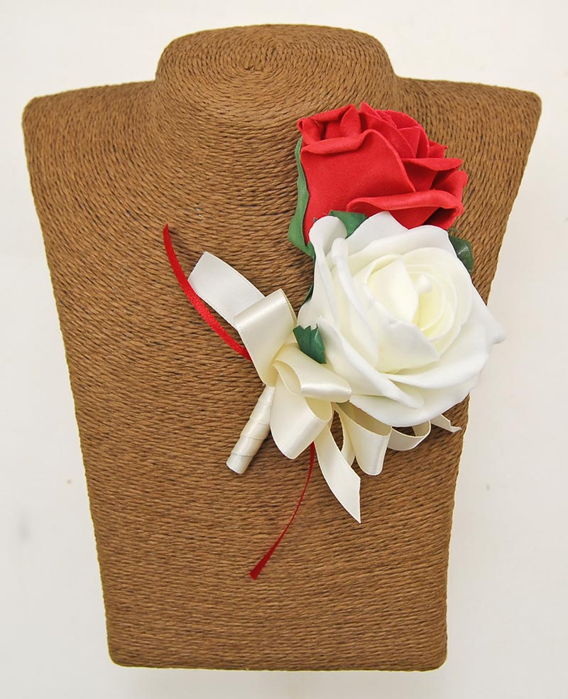 Grooms Double Red & Ivory Artificial Rose Wedding Buttonhole