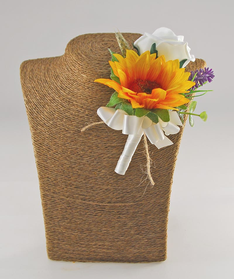 Grooms Golden Sunflower, Ivory Rose & Wheat Spray Wedding Buttonhole