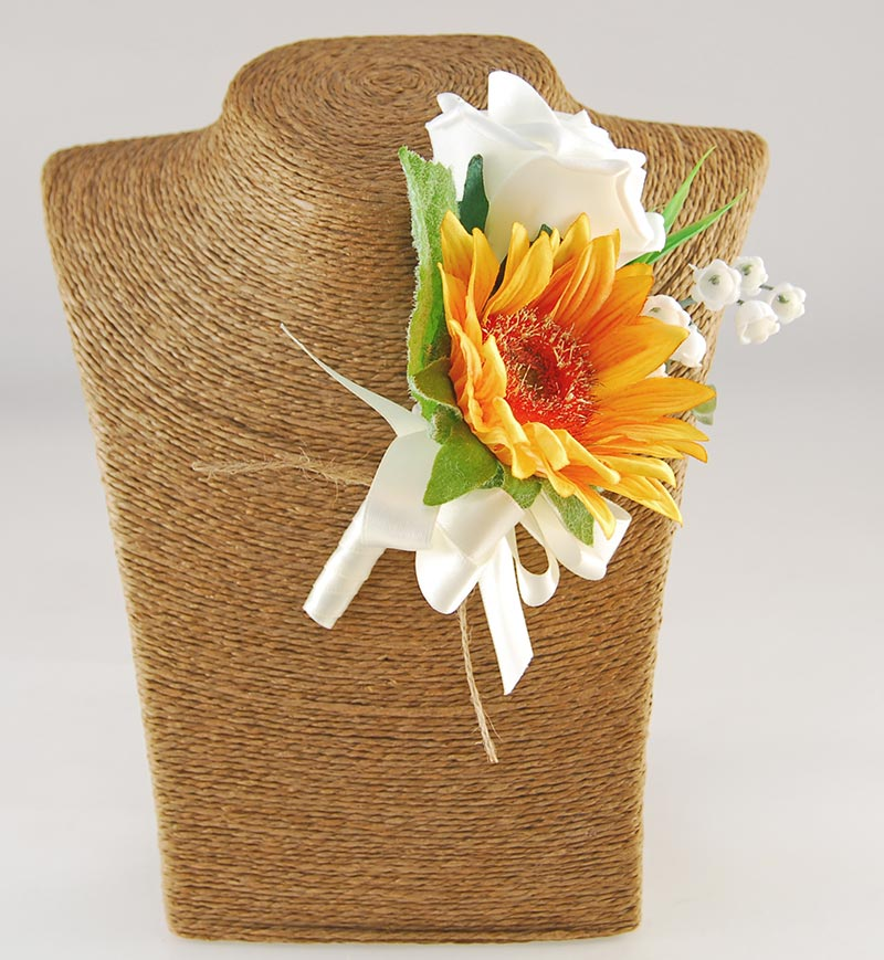 Grooms Golden Sunflower, Lilly of the Valley & Ivory Rose Wedding Buttonhole