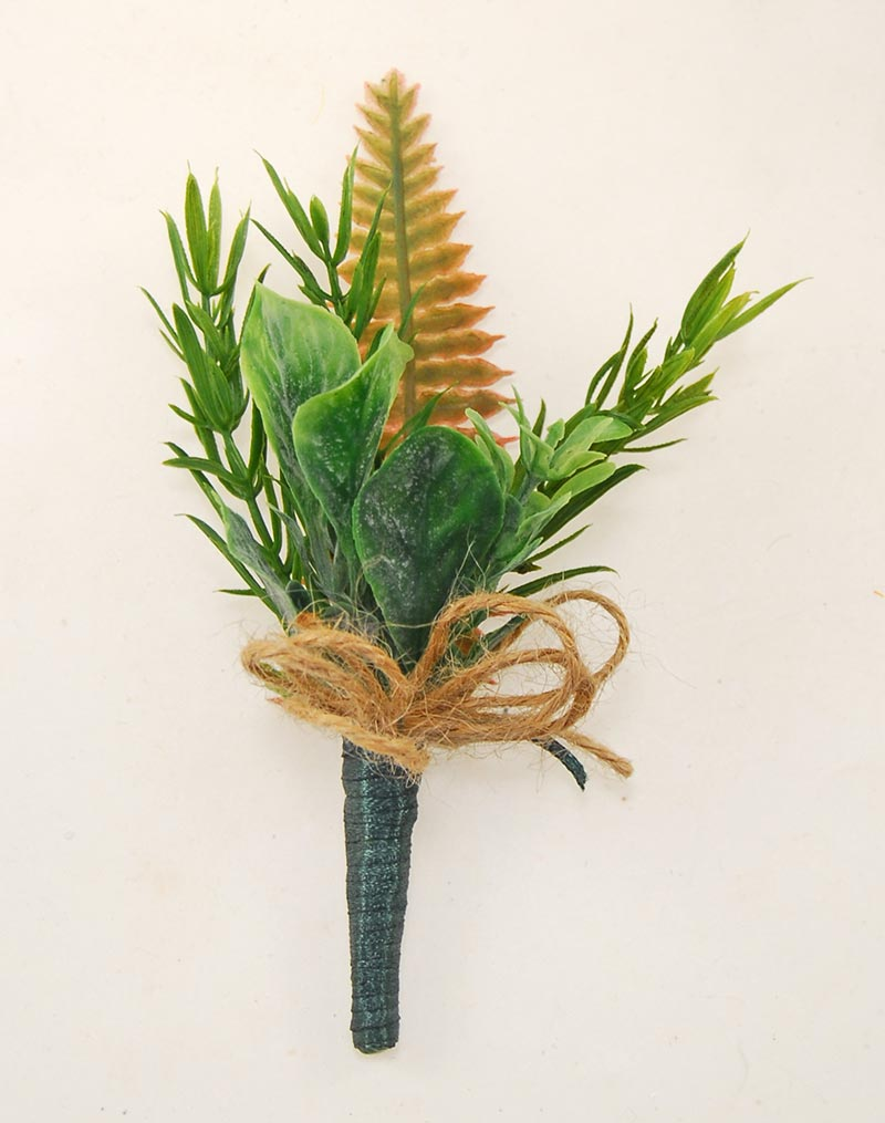 Grooms Green Foliage & Twine Bow Wedding Buttonhole