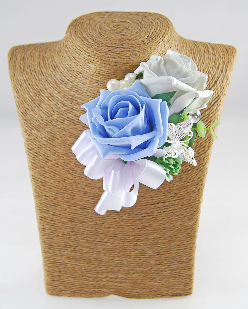 Grooms Grey & Light Blue, Butterfly Pearl Wedding Buttonhole
