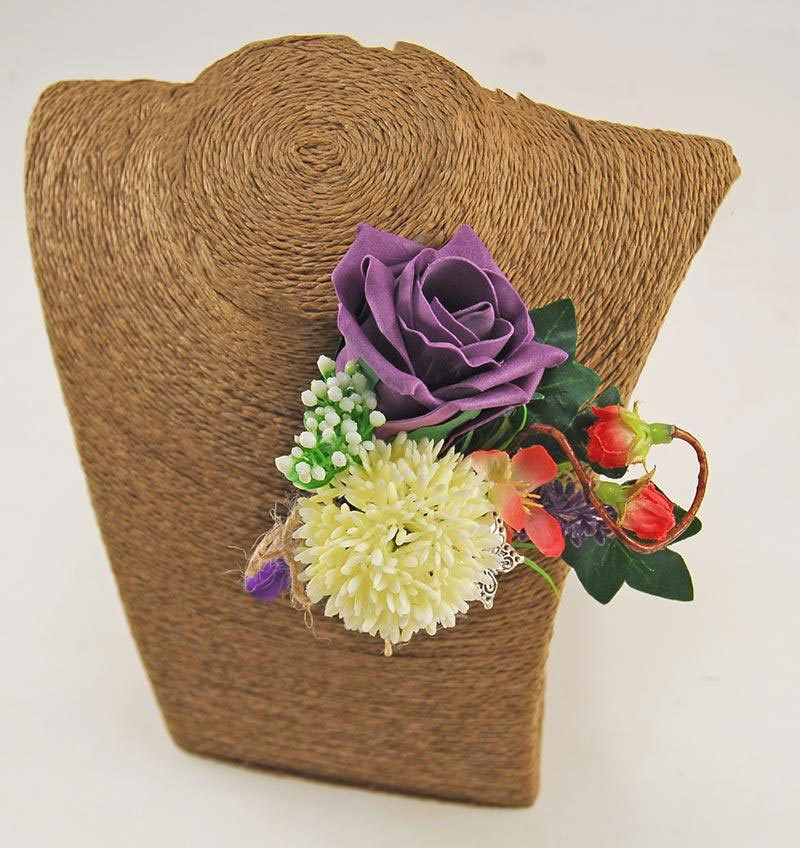 Grooms Ivory Allium, Plum Purple Rose & Cherry Blossom Wedding Buttonhole