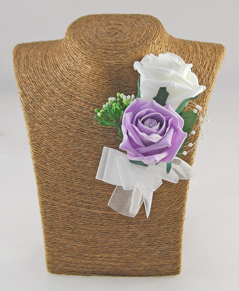 Grooms Ivory, Lilac Rose Pearl Gyp Double Wedding Buttonhole
