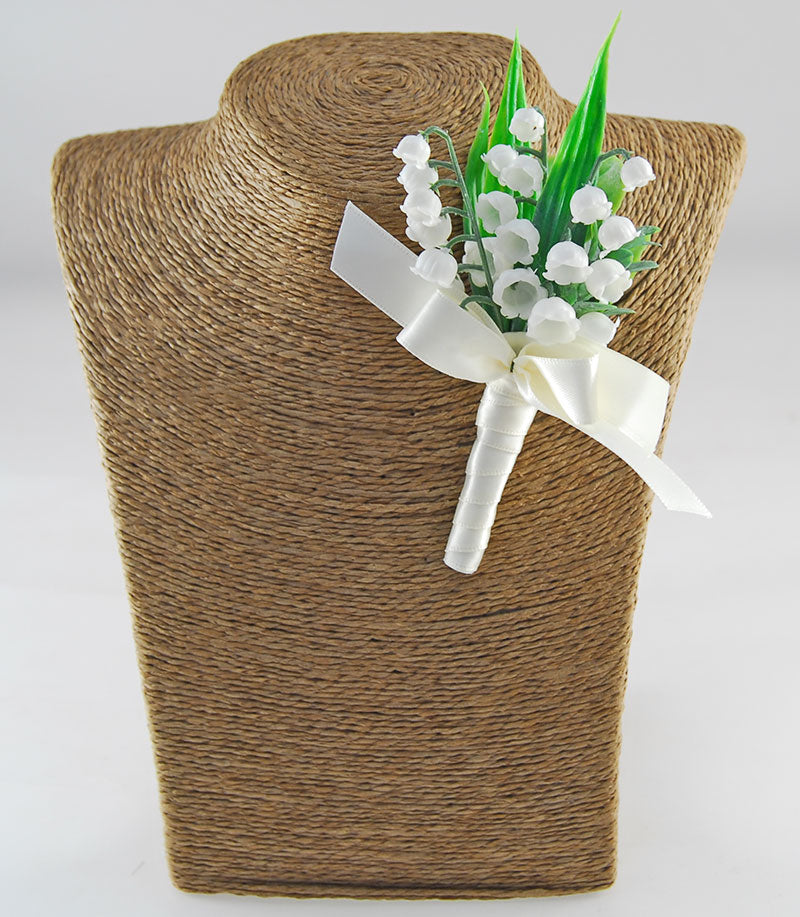 Grooms Ivory Lily of the Valley Buttonhole with Satin Ribbon