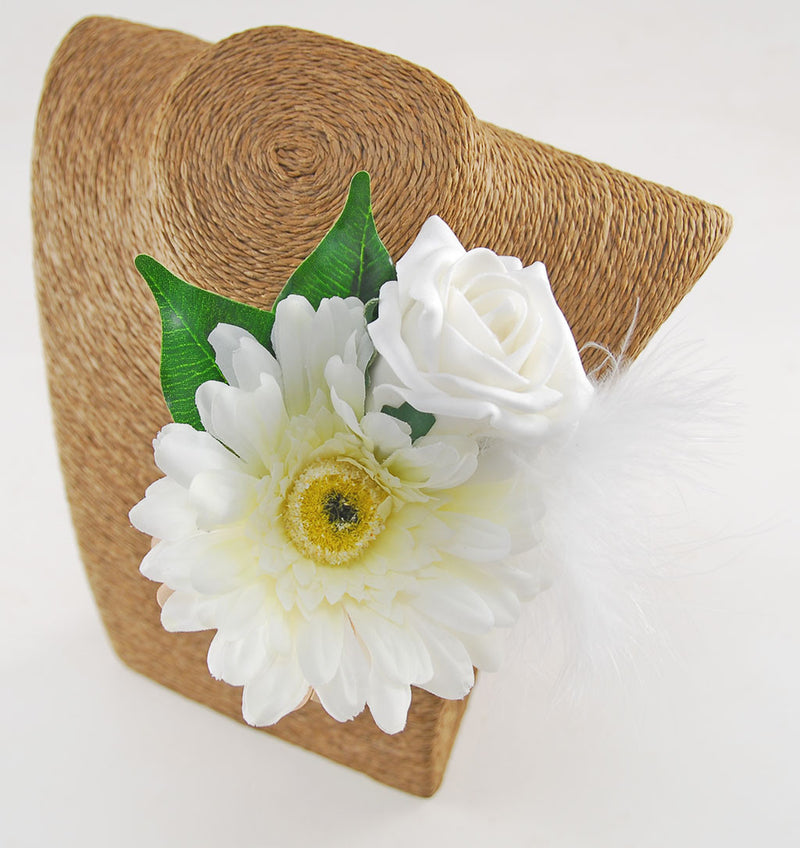 Grooms Ivory Rose & Silk Gerbera Wedding Day Buttonhole
