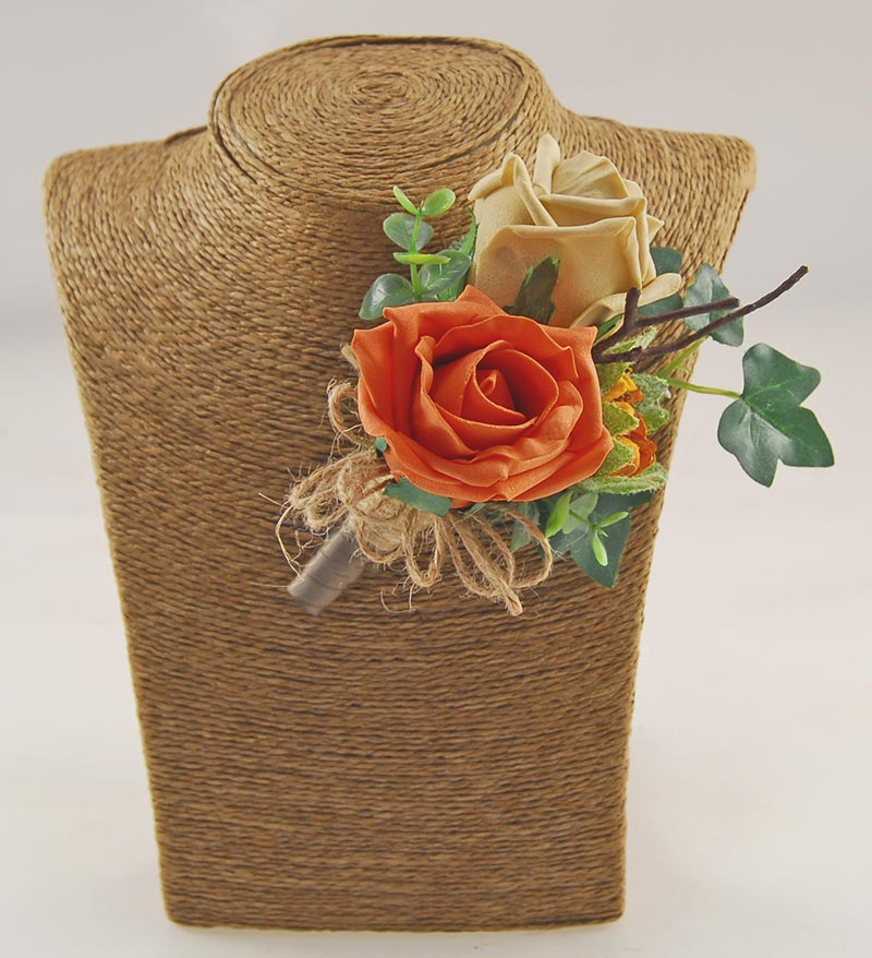Grooms Orange & Coffee Rose Sunflower Bud Wedding Buttonhole