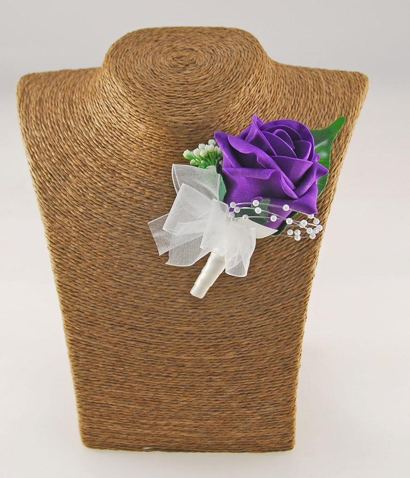Grooms Purple Rose & Gypsophila Wedding Buttonhole with Pearl Loops
