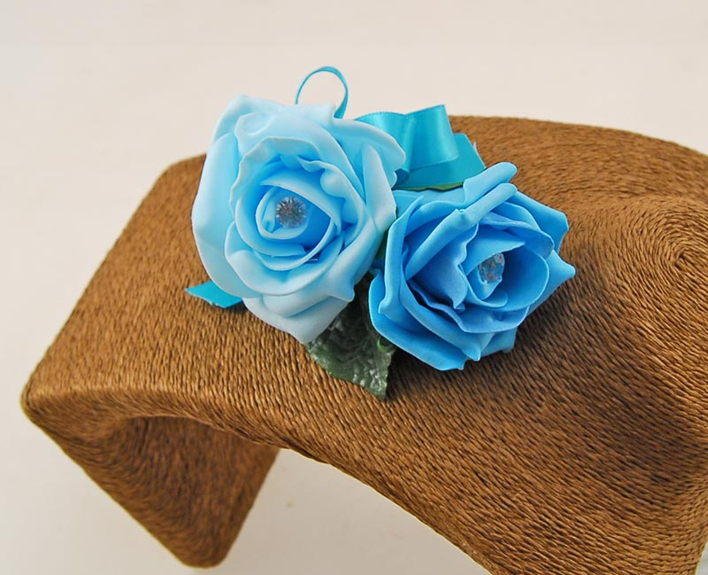 Grooms Turquoise & Aqua Blue Diamante Rose Wedding Buttonhole