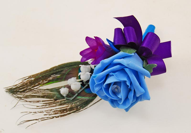 Grooms Turquoise Rose, Lily of the Valley & Peacock Feather Wedding Buttonhole