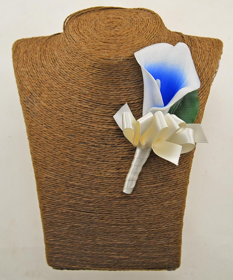 Guest Artificial Ivory & Blue Calla Lily Wedding Day Buttonhole