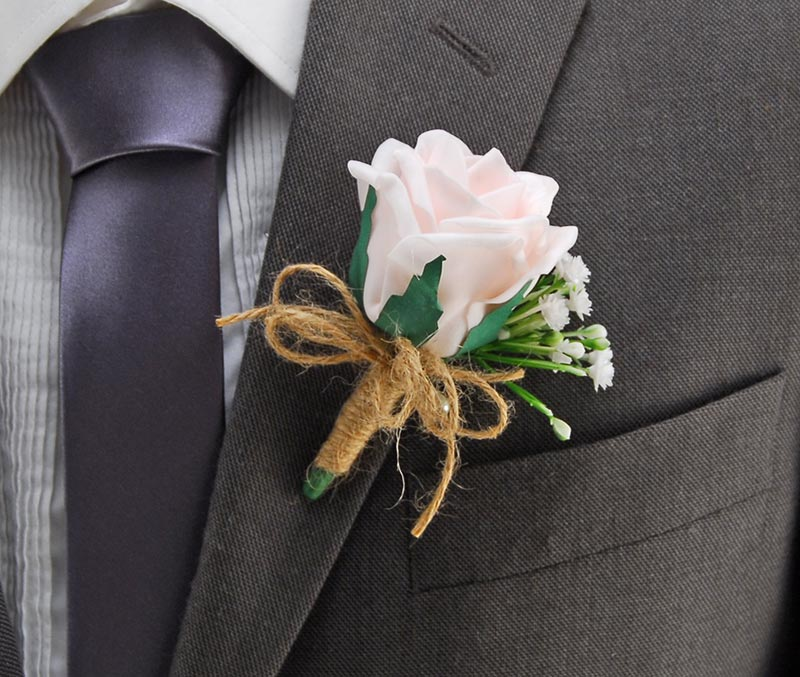 Guest Buttonhole with Light Pink Rose Gypsophila Twine Bow