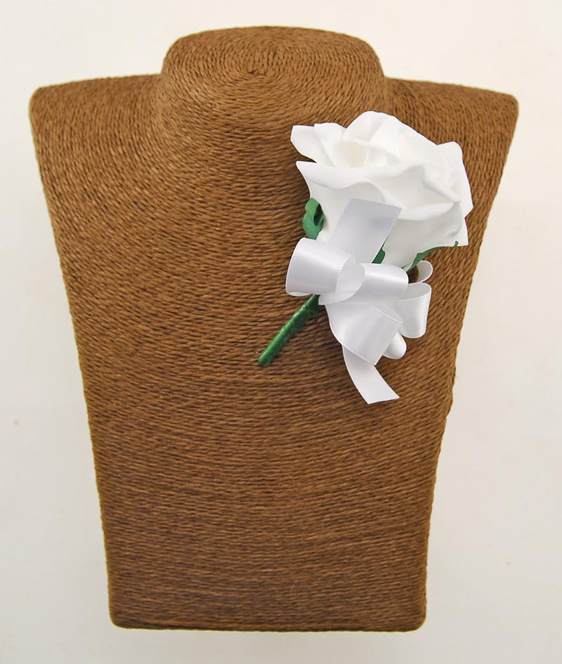 Guest White Rose Wedding Buttonhole With White Bow