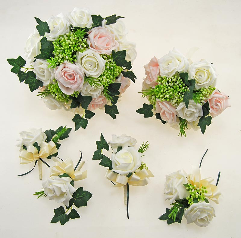 Ivory, Pink Diamante Rose, Green Berry & Ivy Agatha Wedding Package