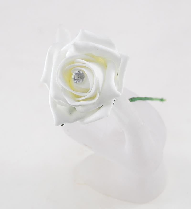 Single Ivory Diamante Foam Rose Wedding Sample - Pick Your Own Colour