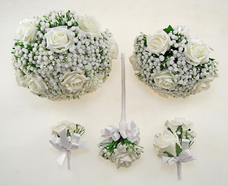 Ivory Foam Rose & Ivory Gypsophila Yula Wedding Package