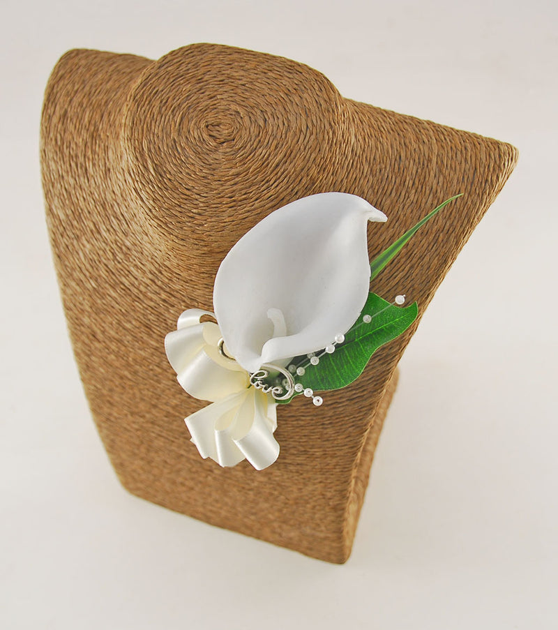 Grooms Love Charm Ivory Calla Lily Wedding Buttonhole with Pearl Spray