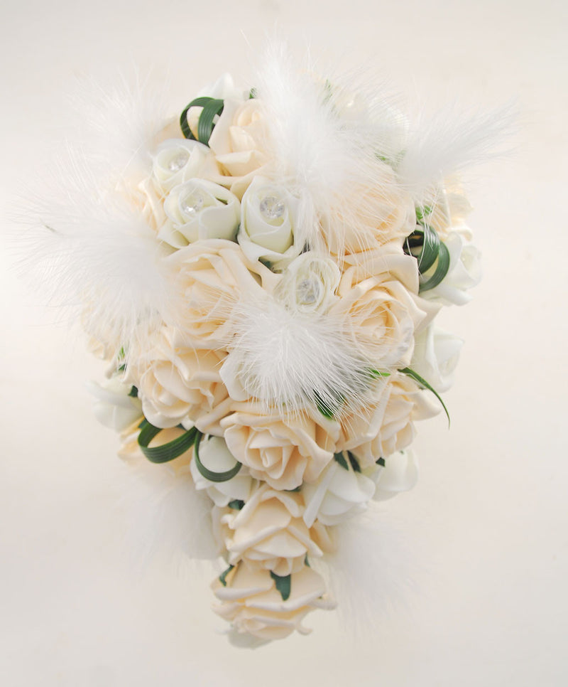 Rebecca Shower Package in Ivory Diamante, Feathers & Cream Roses
