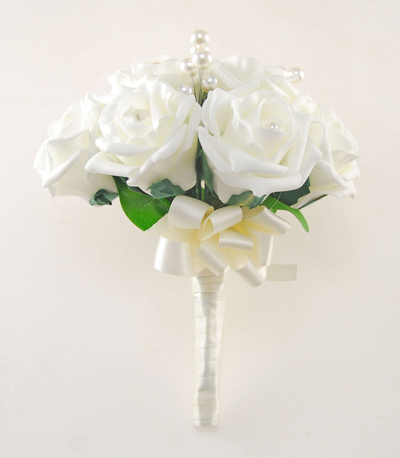 Ivory Rose, Pearl Brooch Bridesmaids Wedding Posy Bouquet