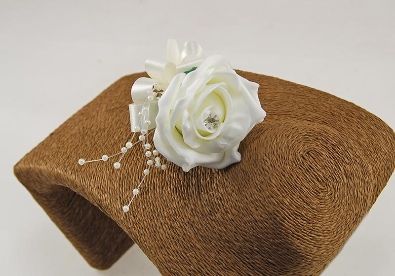 Ivory Diamante Rose, Pearl & Satin Bow Wedding Guest Buttonhole