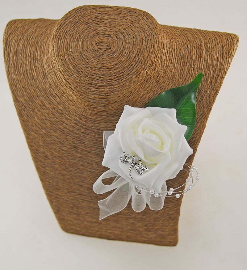 Rose, Dragonfly Charm & Pearl Spray Wedding Guest Buttonhole - Pick Your Own Colour