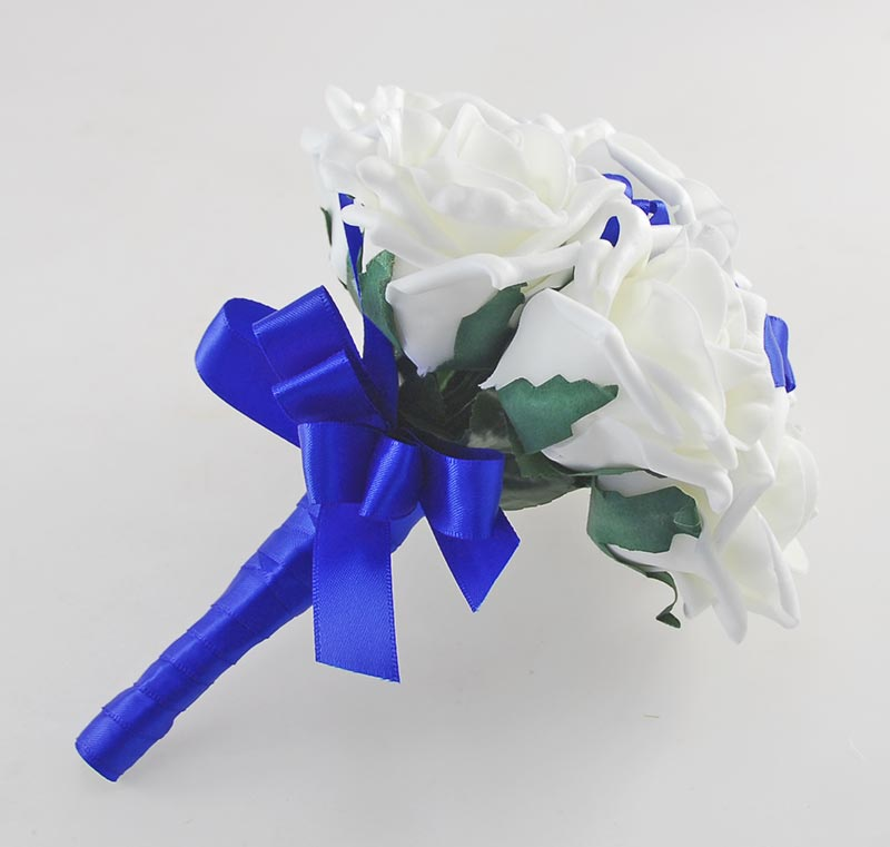 Ivory Foam Rose & Royal Blue Satin Ribbon Flower Girl Posy