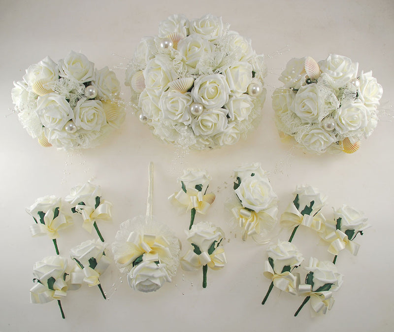 Ivory Foam Rose, Seashell and Pearl Wedding Flower Package with Brides Bouquet, Bridesmaids Posies, Grooms, Mothers, Guest Buttonholes