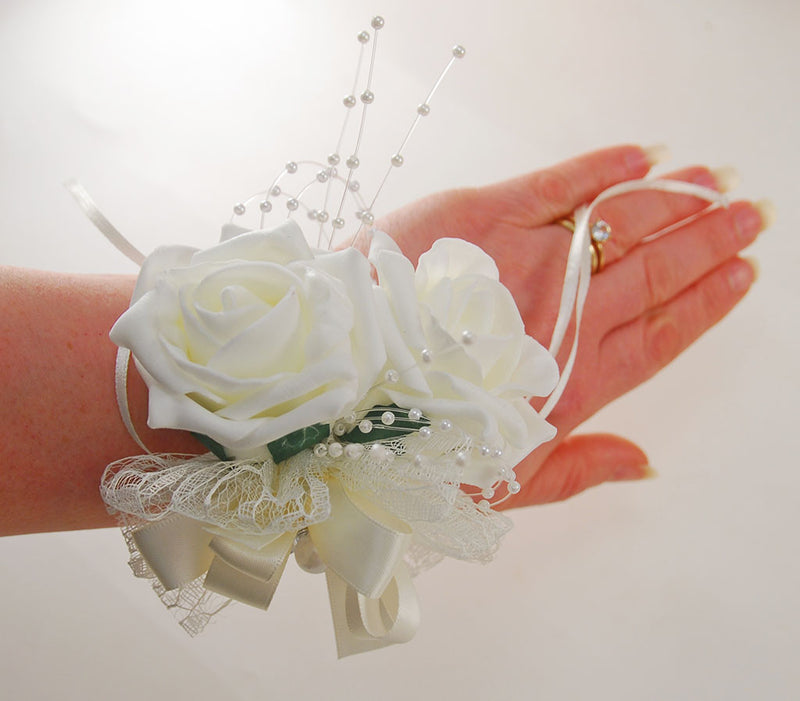 Vintage Rose & Pearl Band Wedding Corsage, Pick Your Own Colour