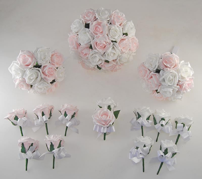 White Amp Light Pink Foam Rose Wedding Flower Package With
