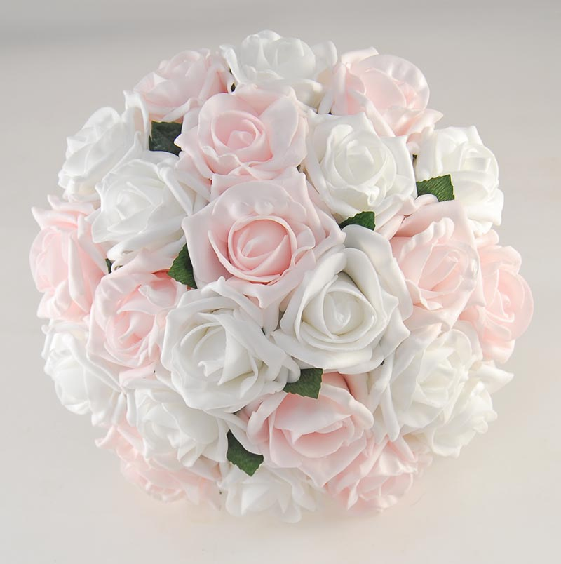 White & Light Pink Foam Rose Wedding Flower Package with Bouquets & Buttonholes