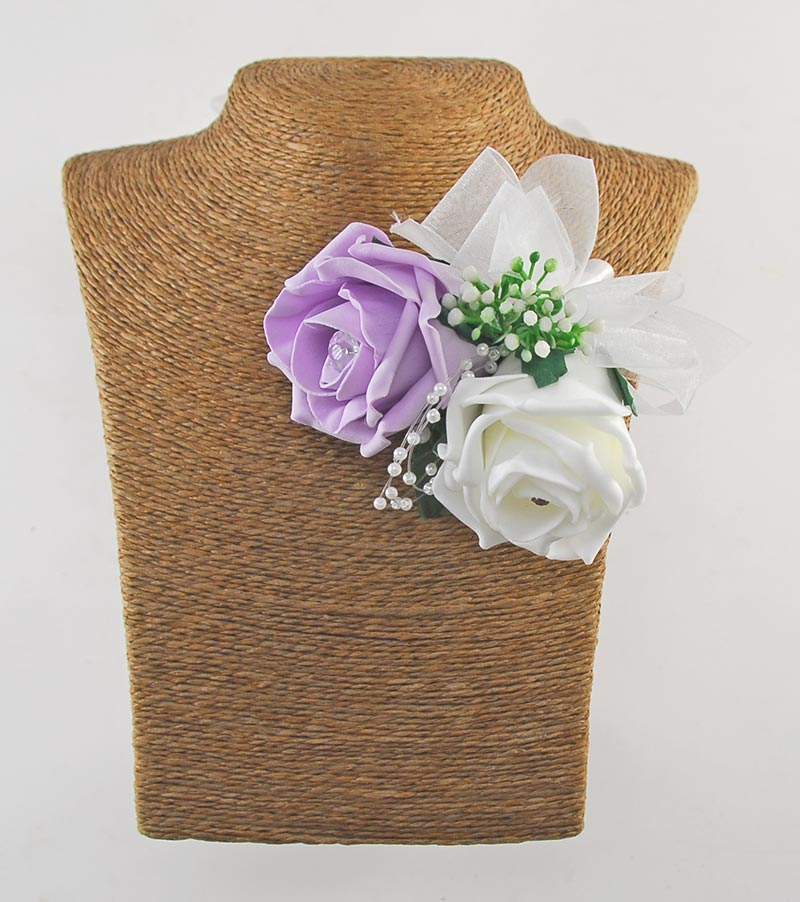 Ivory & Lilac Diamante Rose Pin On Mothers Wedding Corsage