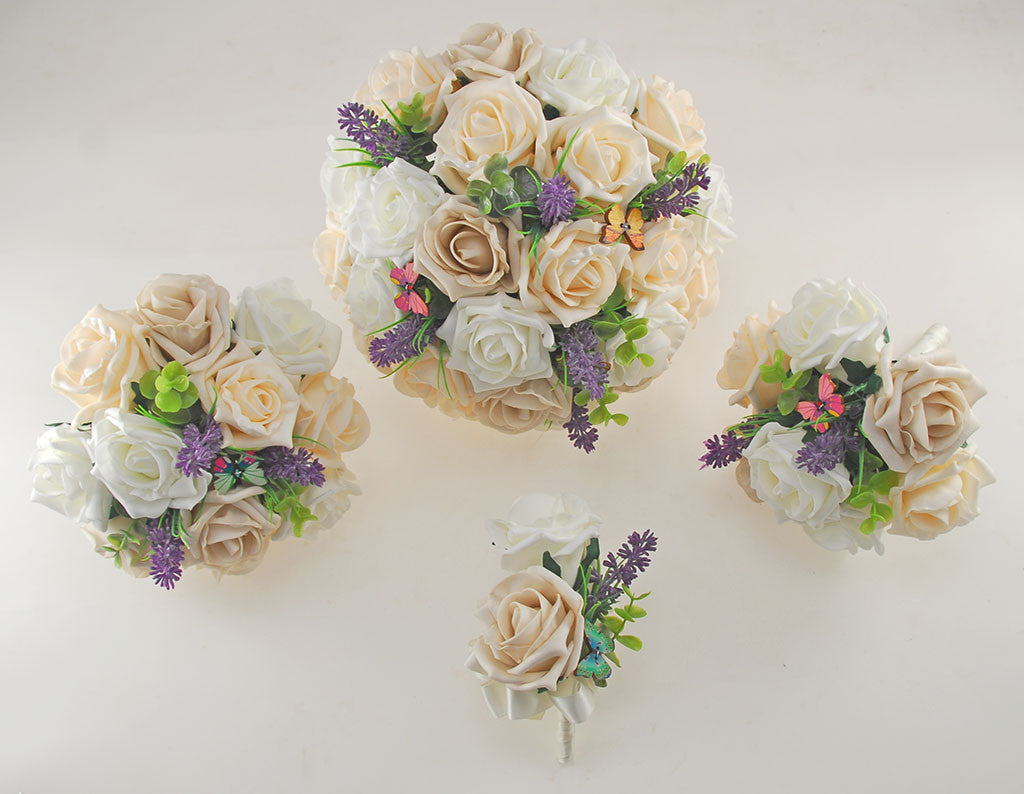 Ivory, Mocha & Cream Rose Butterfly and Lavender Wedding Flower ...