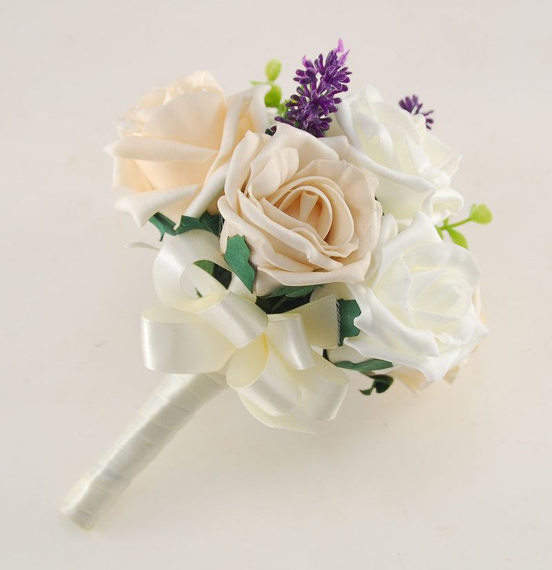 Ivory, Mocha & Cream Rose Butterfly and Lavender Wedding Flower Package with Brides Bouquet, Bridesmaids Posy, Flower Girl Posy, Grooms Buttonhole