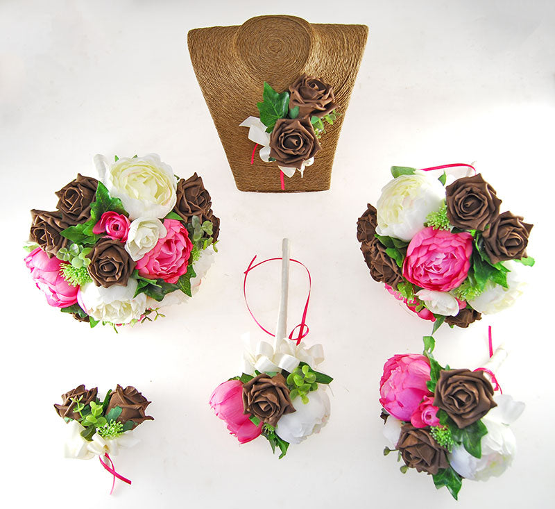 Ivory, Pink Silk Peony & Brown Foam Rose Grace Wedding Flower Package