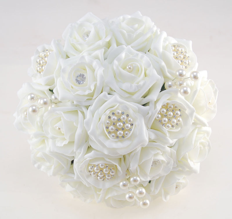 Ivory Rose Bridal Wedding Bouquet with Pearl & Diamante Brooches