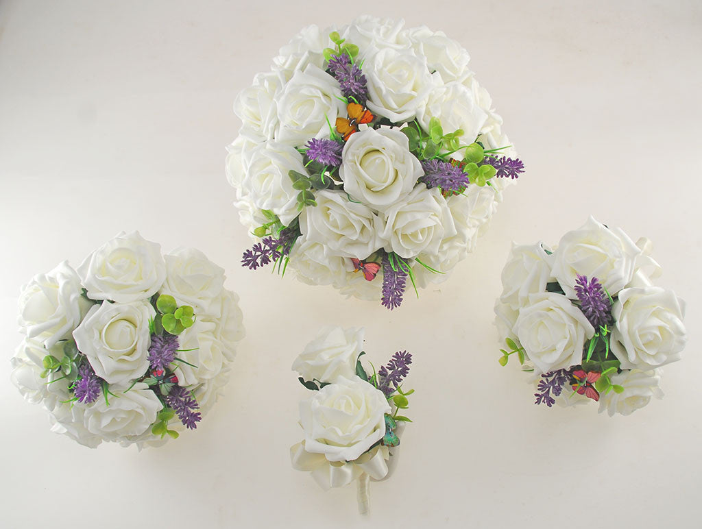 Ivory Rose Butterfly, Lavender Wedding Flower Package with Brides ...