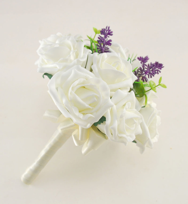 Ivory Rose Butterfly, Lavender Wedding Flower Package with Brides Bouquet, Bridesmaids Posy, Flower Girl Posy, Grooms Buttonhole