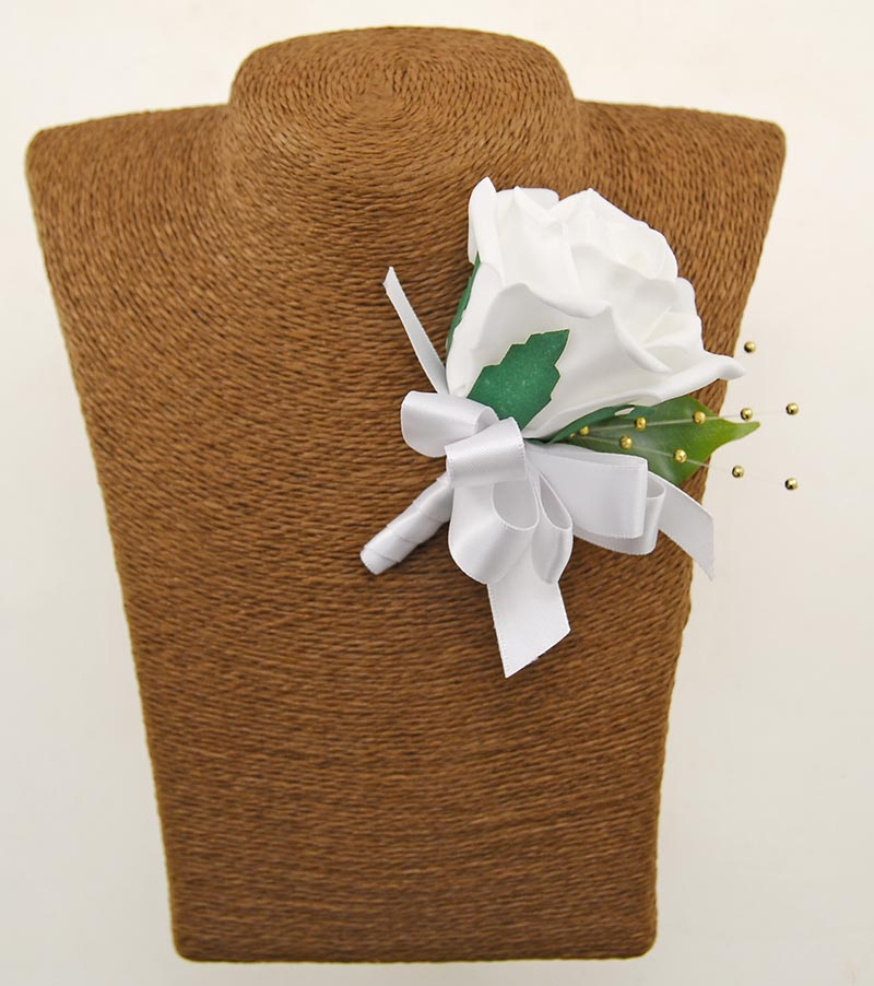 White Rose, Gold Pearl & White Satin Ribbon Wedding Guest Buttonhole