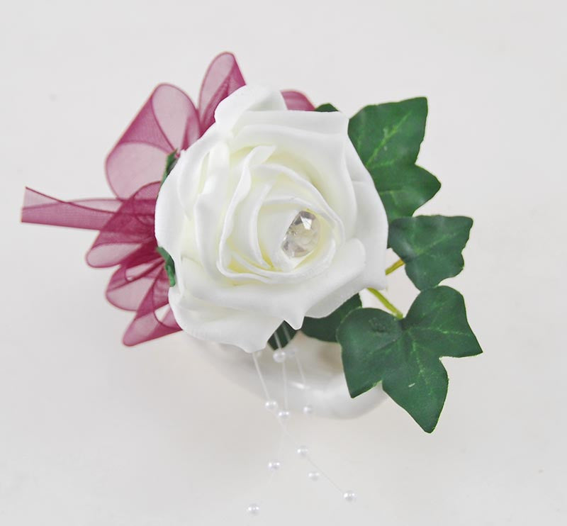 Ivory Rose Guest Buttonhole with Burgundy Organza Bow & Pearls