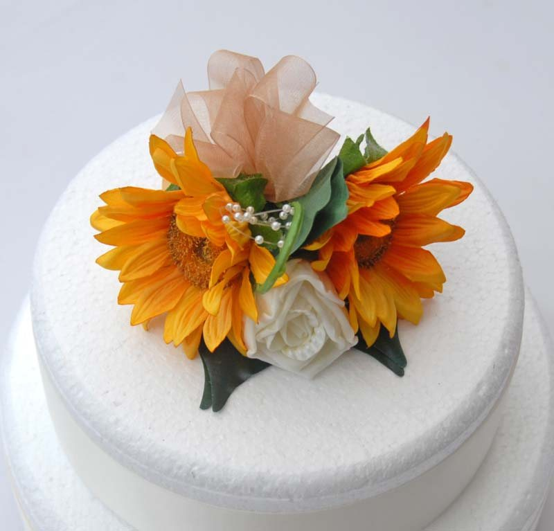 Ivory Rose, Pearl & Golden Silk Sunflower Wedding Cake Spray