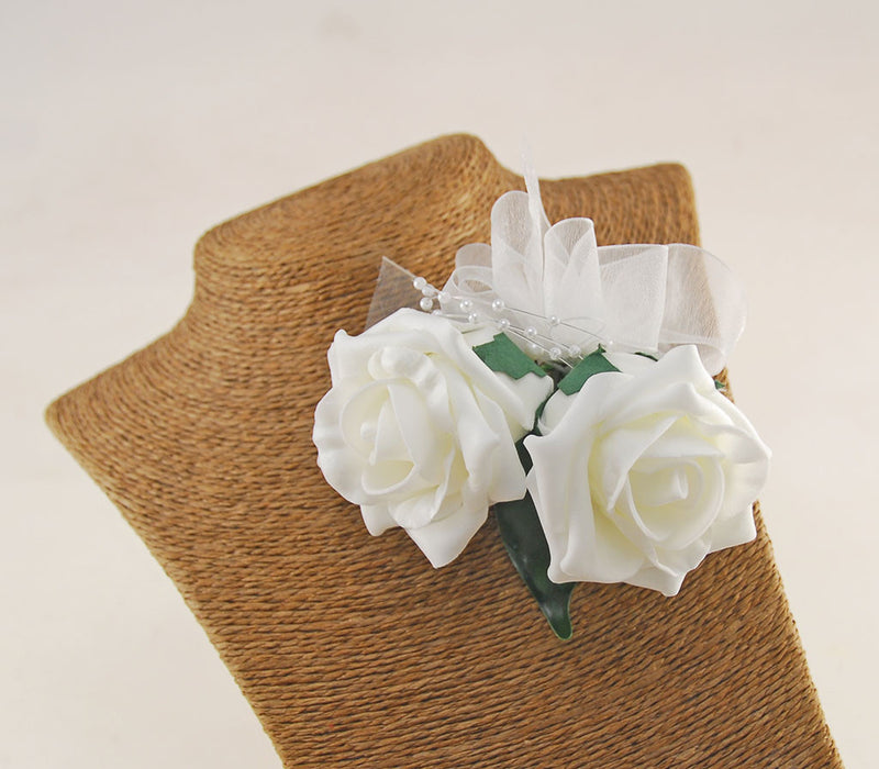 Ivory Rose Pin On Wedding Corsage - Pick Your Own Colour