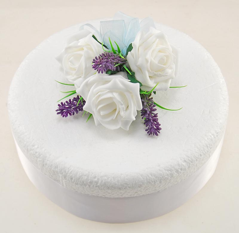 Ivory Rose & Purple Silk Lavender Wedding Cake Spray