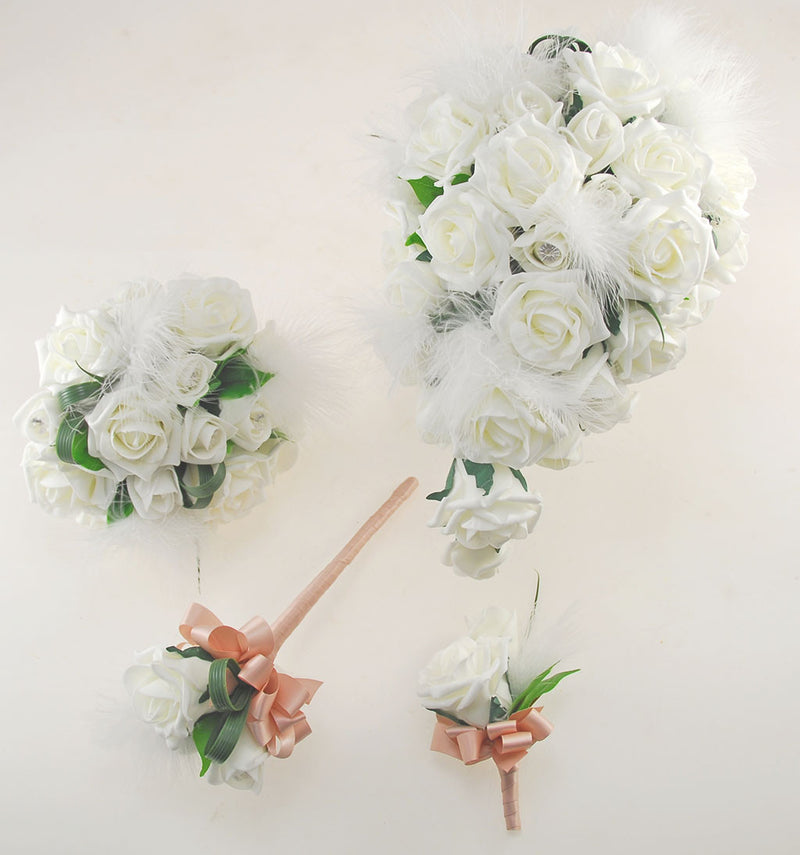 Rebecca Shower Package in Ivory Roses with Diamantes and Ivory Feathers